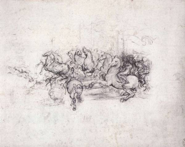 Leonardo da Vinci Group of riders in the Battle of Anghiari
